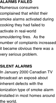 ALARMS FAILED