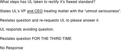 What steps has UL taken to rectify it's flawed standard?
